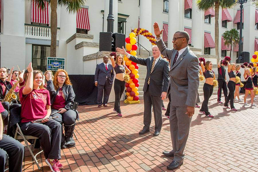Coach Willie Taggart during FSU Day at the Capitol Feb. 6, 2018. (FSU Photography Services)