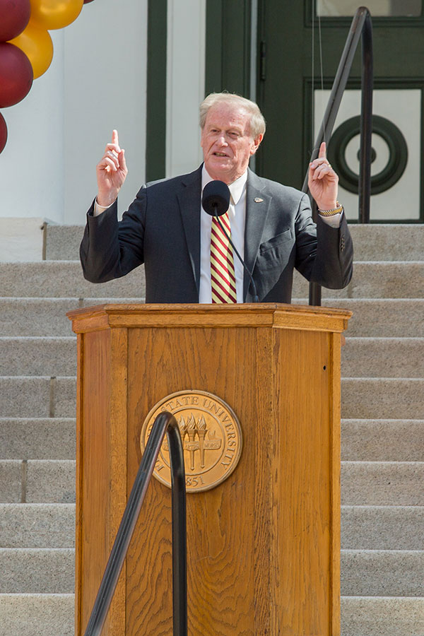 President John Thrasher speaks during FSU Day at the Capitol Feb. 6, 2018. (FSU Photography Services)