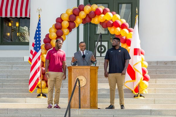 Coach Willie Taggart and FSU football players address the crowd during FSU Day at the Capitol Feb. 6, 2018. (FSU Photography Services)