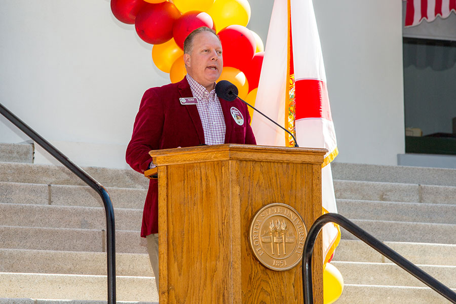 Tom Block serves as master of ceremonies during FSU Day at the Capitol Feb. 6, 2018. (FSU Photography Services)