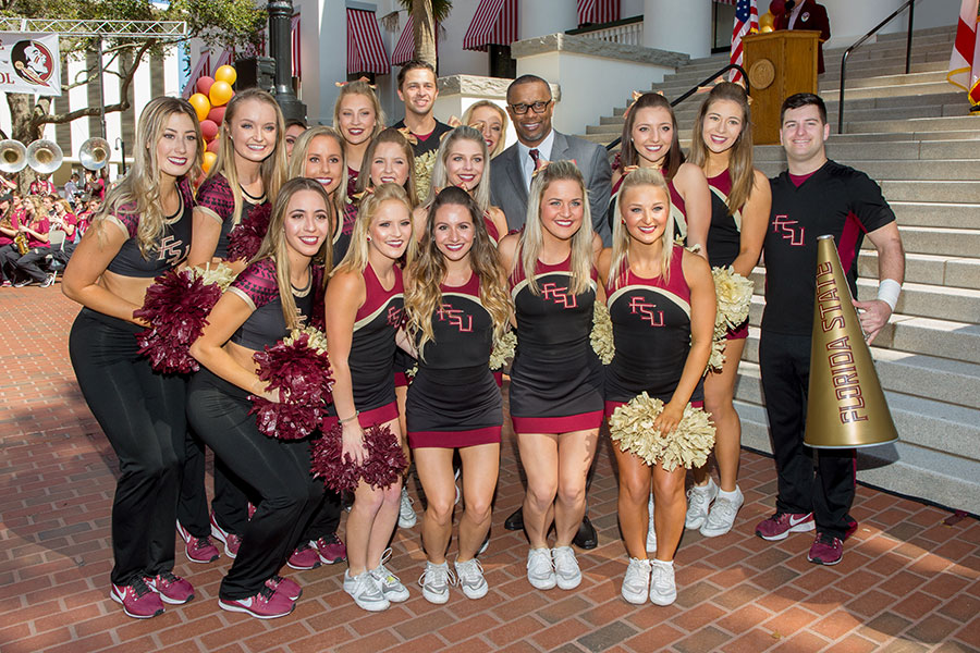 Coach Willie Taggart and the FSU cheerleaders during FSU Day at the Capitol Feb. 6, 2018. (FSU Photography Services)