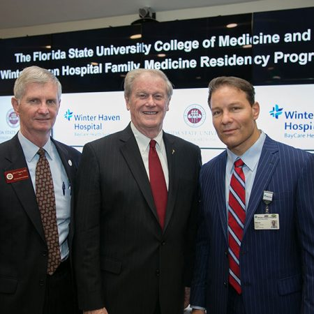 College of Medicine Dean John P. Fogarty, President John Thrasher and Winter Haven Hospital President/CEO Steve Nierman at the announcement of a new family medicine residency program between Florida State University College of Medicine and Winter Haven Hospital.