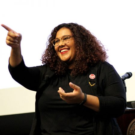 Shantel Buggs, an assistant professor in the Department of Sociology, answers questions from students during the opening keynote of the Multicultural Leadership Summit on Jan. 26. Photo/ Rachel Mulcahy