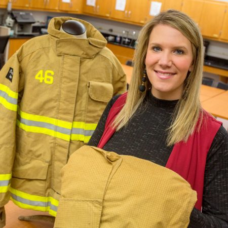 "Meredith McQuerry, an expert on protective clothing for firefighters, identified flaws in some high-tech firefighting suits, including less breathability. ""When you combine intense, short bursts of physical activity with a hot, humid environment — it does not even have to be near a fire — and you add 50-100 pounds of gear, it's no wonder we see more cases of heat stroke."""
