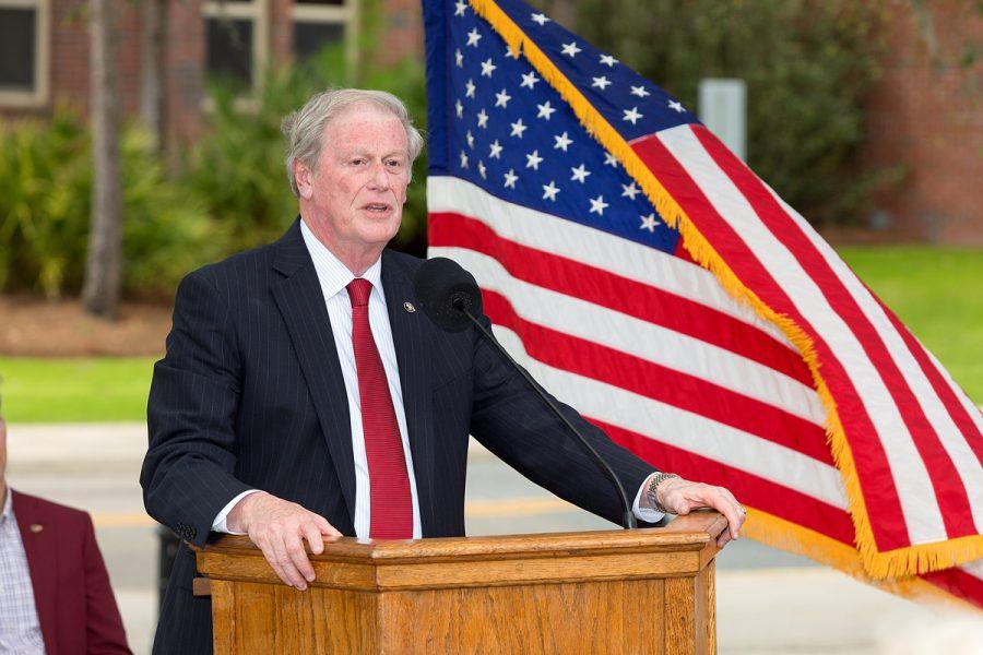 FSU President John Thrasher speaks at the Scott Speicher Memorial unveiling, Feb. 16, 2018. (FSU Photography Services)