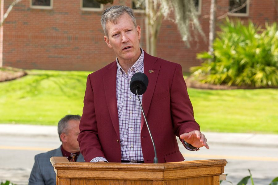 Billy Francis, director of FSU's Student Veterans Center, speaks at the Scott Speicher Memorial unveiling, Feb. 16, 2018. (FSU Photography Services)