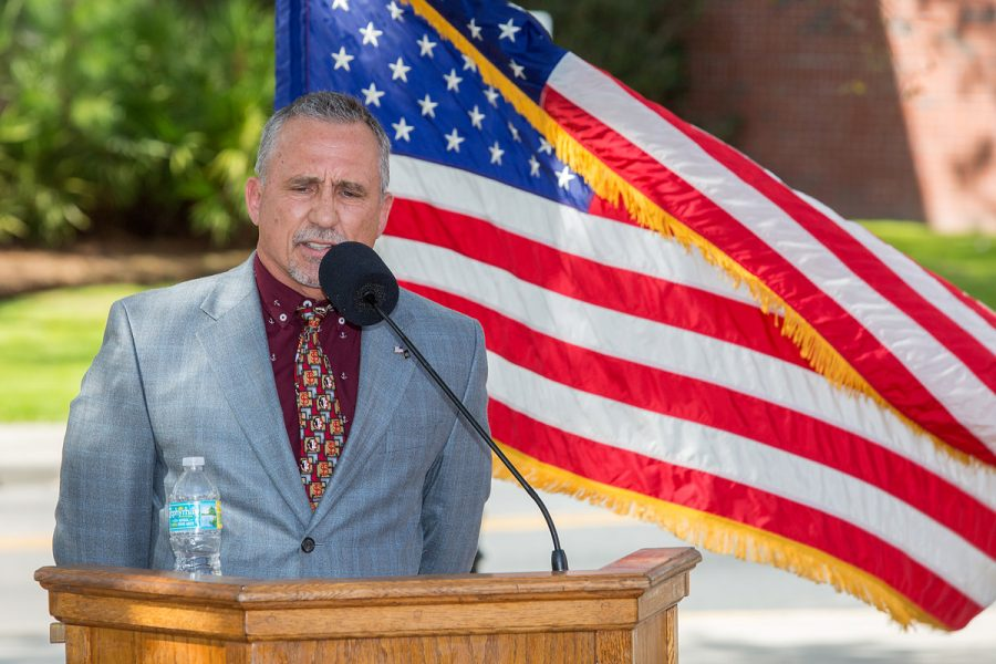 Buddy Harris speaks at the Scott Speicher Memorial unveiling, Feb. 16, 2018. (FSU Photography Services)