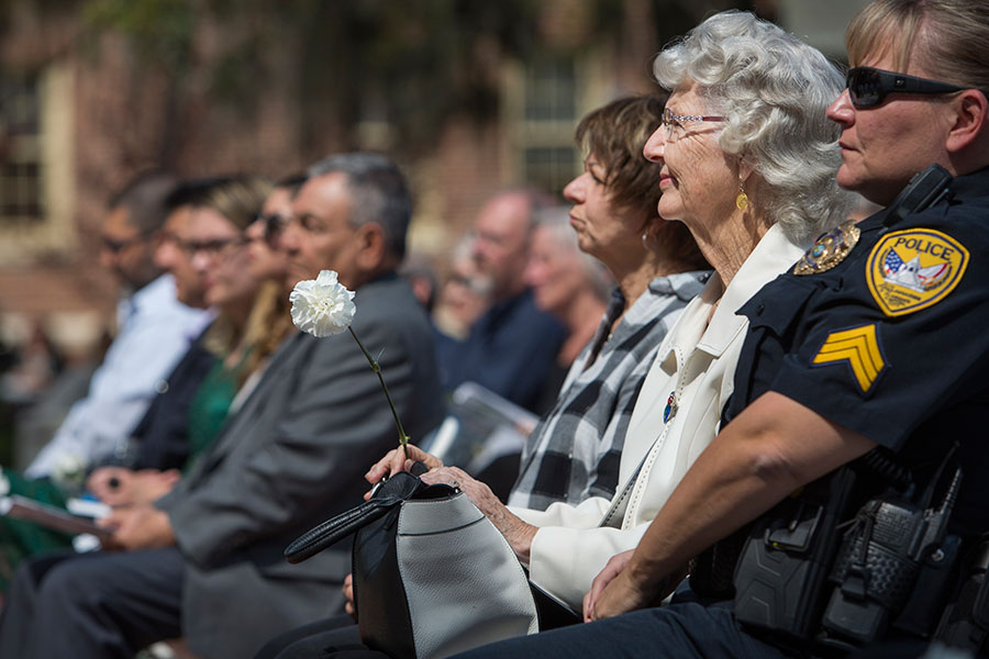 Family members, friends and community members gather to honor eight College of Criminology & Criminal Justice alumni who died in the line of duty at a ceremony Friday, March 23. (FSU Photography Services)