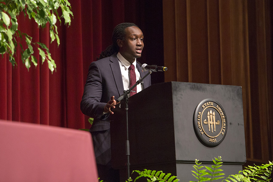 Damon Edmond, president of the Senior Class Council, gives the Congratulatory Remarks.
