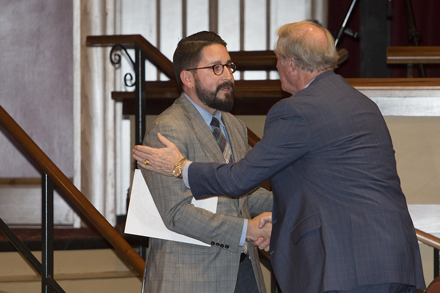President John Thrasher thanks Dustin Daniels, an International Affairs alumni class of 2011, after the keynote address.