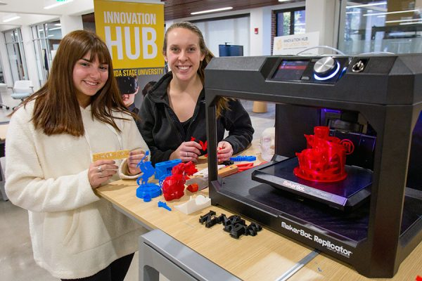 """""""The Innovation Hub introduced me to a lot of new technology, and it's amazing I get to use it all for free,"""" said junior Alyson Kapper. (Photo: Photography Services)"""