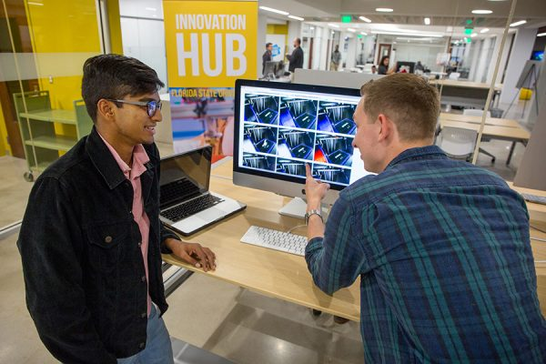 Along with a collaborative workspace for students to share ideas, create prototypes and come up with solutions to real-world problems, the hub also is where they can build and expand on designs and projects. (Photo: Photo Services)
