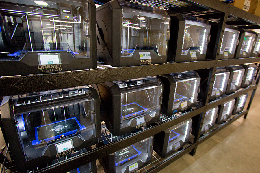 There are tons of 3-D printers available to craft almost anything a student can dream up at the Innovation Hub. (Photo: UC Photography Services)