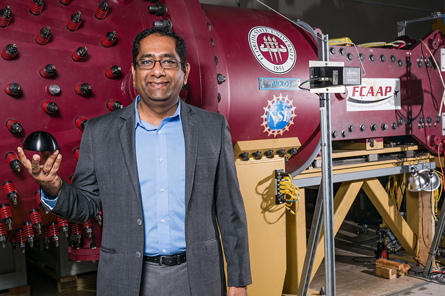Rajan Kumar, an associate professor at the FAMU-FSU College of Engineering, is using the state-of-the-art facilities at the Florida Center for Advanced Aero-propulsion to develop aircraft-emitted lasers that can better withstand supersonic conditions.