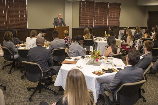 President Thrasher commended students on their commitment to service. (Photo: UC Photography Services)