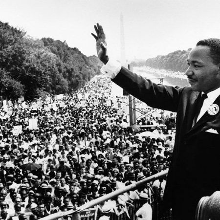 "Martin Luther King Jr. delivered his ""I Have a Dream"" speech in August 1963 at the Lincoln Memorial in Washington, D.C."