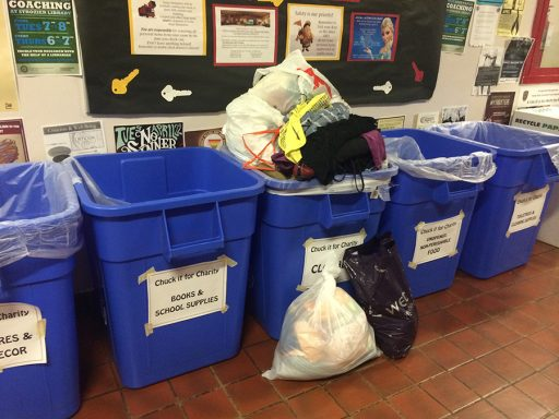 Collection bins are left in the residence halls for students to donate before they are collected by volunteers. (Photo: FSU Sustainable Campus)