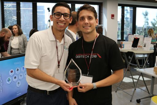 Two of the four members of DiaTech, which won Best in Show for Contribution and the $1,000 Shark Tank competition. (Photo: University Communications)