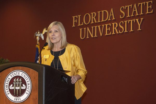 Myrna Hoover, director of the FSU Career Center, speaks at the Garnet & Gold Scholar Society induction ceremony April 26, 2018. (FSU Photography)