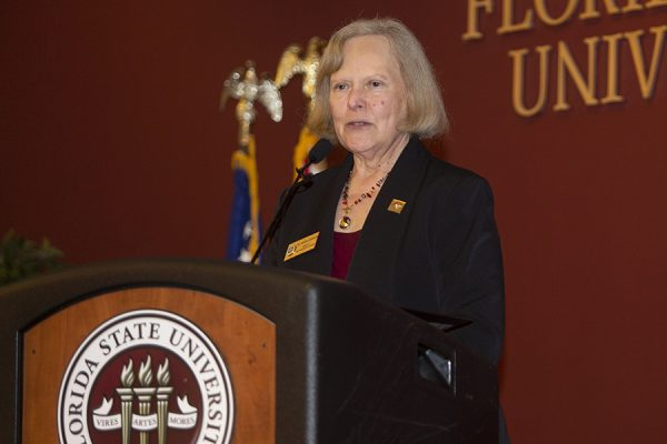 Karen Laughlin, dean of Undergraduate Studies, speaks at the Garnet & Gold Scholar Society induction ceremony April 26, 2018. (FSU Photography)