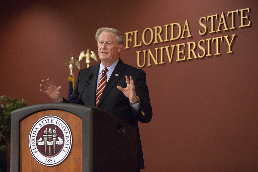 President John Thrasher speaks at the Garnet & Gold Scholar Society induction ceremony April 26, 2018. (FSU Photography)