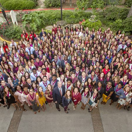 Florida State University's Spring 2018 inductees to the Garnet & Gold Scholar Society April 26, 2018. (FSU Photography)