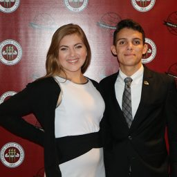 Juniors,Jessica Leabu and John Walker at Leadership Awards Night. Walker is the College of Criminology's Humanitarian of the Year. (Photo: Division of Student Affairs)