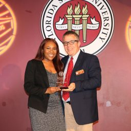 William B. Clutter Union Board Members of the Year Krystine Auguste accepts her award. (Photo: Division of Student Affairs)