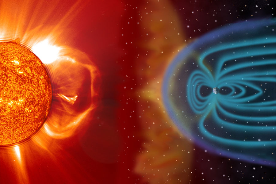 The powerful, high-energy particle radiation pulsing beyond Earth's protective magnetosphere can have dangerous effects on human beings. Delp will study the possible relationship between this harmful cosmic radiation and cardiovascular disease. (Image courtesy of NASA)