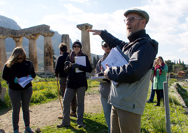 Pfaff speaks to students at the Temple of Apollo in Corinth.