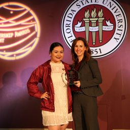 Bob E. Leach Award winner Tatiana Mappe with Vice President for Student Affairs Amy Hecht. (Photo: Division of Student Affairs)