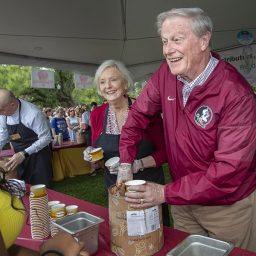 """This is one of my favorite events of the year,"" Thrasher said. ""Jean and I love getting the chance to visit with students and see the enthusiasm they have for Florida State. It's just a beautiful day."" (Photo: UC Photography Services)"