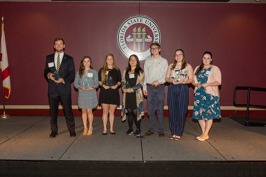 Student Employee of the Year award winners (From left): Blake Tipping, Rosalia Parrino, Kelly Borges, Clare Davis, Wyatt Harrell, Grace Atkins and Georgia Platt. (Photo: UC Photography Services)