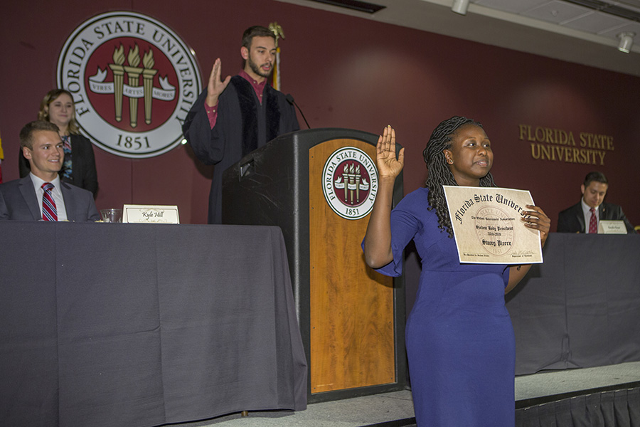 Stacey Pierre is sworn in at the SGA spring inauguration March 29, 2018. (FSU Photography Services)