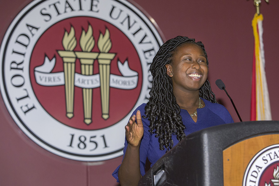Stacey Pierre, the 2018-2019 SGA president, speaks at the Student Government Association inauguration March 29. (FSU Photography Services)
