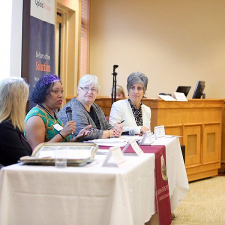 Eugenia Millender, an associate professor in the FSU College of Nursing, addresses attendees during an opioid abuse prevention panel discussion on May 18. Three FSU colleges — Social Work, Medicine and Nursing — partnered with Allied Against Opioid Abuse to host the event.