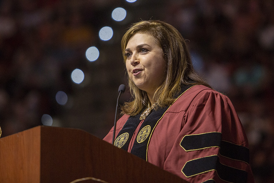 Alumna Julie Dunn Eichenberg addresses graduates at the FSU Spring Commencement 2018 Friday afternoon ceremony. (FSU Photography Services)
