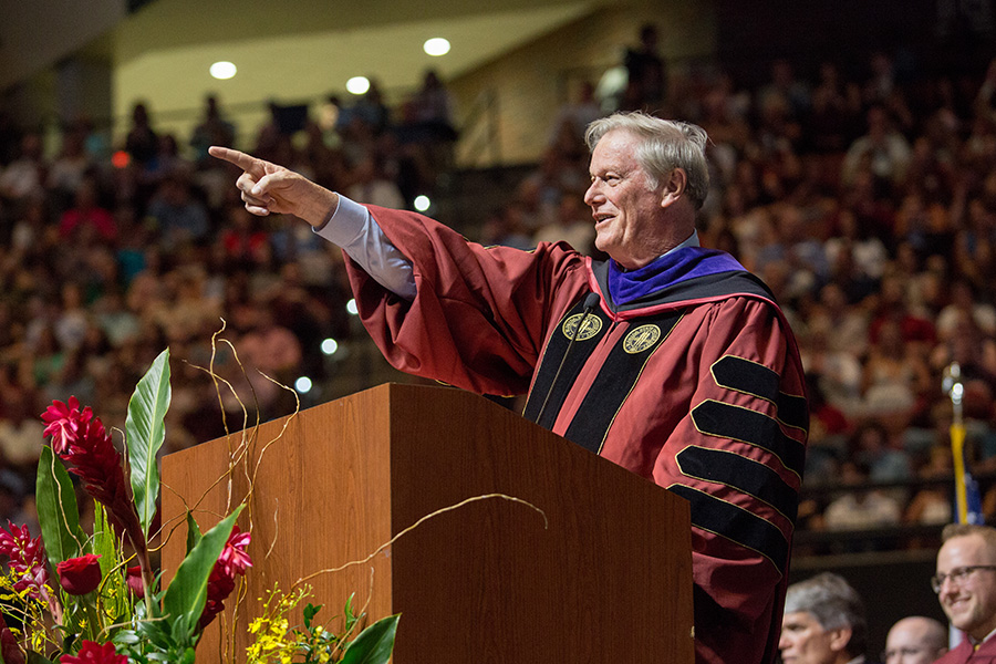 President John Thrasher welcomes graduates and their families to the FSU Spring Commencement 2018 Friday night ceremony. (FSU Photography Services)