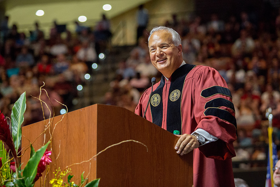 Alumnus John Rivers addresses the graduates at the FSU Spring Commencement 2018 Friday night ceremony. (FSU Photography Services)