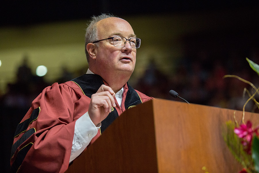 Jim Jenkins, CEO for Sodexo's Universities North America East — FSU's dining services partner, addresses graduates during the Saturday morning spring commencement ceremony, May 4, 2018. (FSU Photography Services)