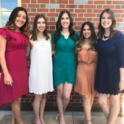 Rottenberg (left) with her girl group of fellow Presidential Scholars who fondly refer to themselves as 'Pschols.' (Left to right) Sophie Rottenberg, Taylor Merritt, Amanda Schell, Jordan Singletary and Laura Blank at the final farewell breakfast for the outgoing Presidential Scholars.(Photo: Sophie Rottenberg)