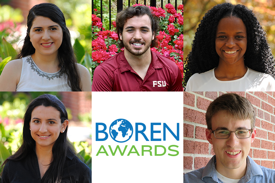 FSU's 2018 Boren Award winners: (Top row, from left) Mane Grigoryan, Chris Hickey, Trissanne Keen; (Bottom row, from left) Stephenie Reid, Christopher Orr.
