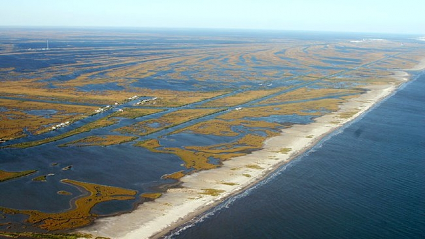 Jaap Nienhuis, assistant professor of Earth, Ocean and Atmospheric Science, said Coastal Louisiana is losing about a football field of its wetlands every hour. (Credit: U.S. Geological Survey)