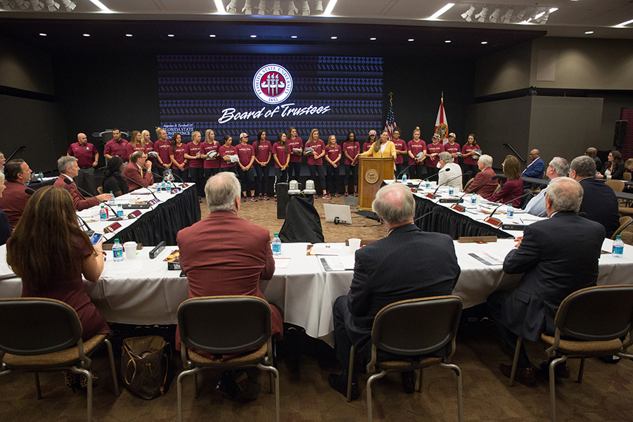 The FSU Softball team is honored at the Board of Trustees Meeting. (Photo: FSU Photography Services)