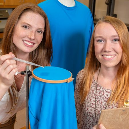 "Brooke Garringer and Reannan Riedy both jumped at the chance to conduct lab research along with Assistant Professor Meredith McQuerry. ""I loved it,"" Garringer said. ""I immediately knew I wanted to get involved, and then I got the chance. It's why I started to think I might want to do this kind of work for a career."" (FSU Photography Services)"