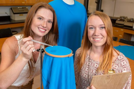 """Brooke Garringer and Reannan Riedy both jumped at the chance to conduct lab research along with Assistant Professor Meredith McQuerry. """"I loved it,"""" Garringer said. """"I immediately knew I wanted to get involved, and then I got the chance. It's why I started to think I might want to do this kind of work for a career."""" (FSU Photography Services)"""