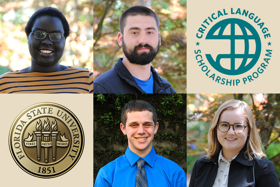 FSU's 2018 Critical Language Scholarship winners. Top row (from left): Akice Agwa, William Crawford. Bottom row (from left): Matthew Hebron, Tatum Shannon.