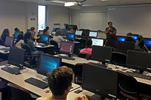 High school students from Leon and Gadsden counties learn tech skills at FSU iCamp, hosted in partnership with the U.S. Army Educational Outreach Program. (Photo: College of Communication and Information)
