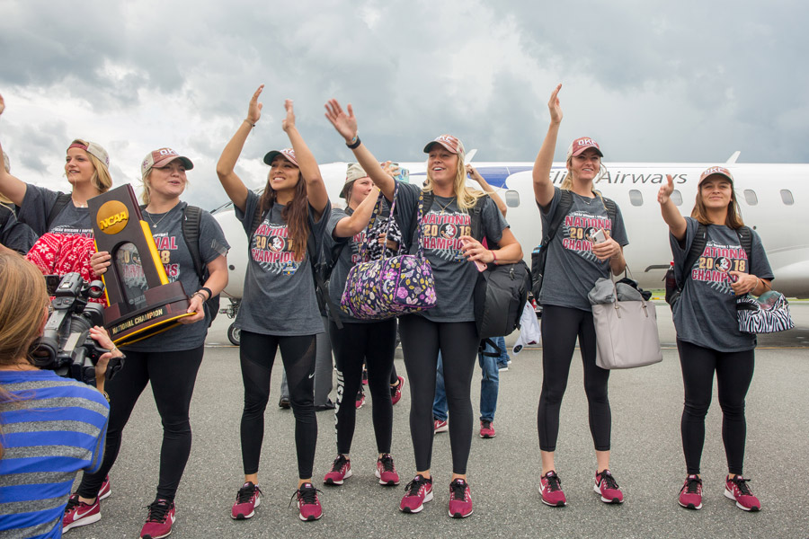 FSU's national champion softball players greet fans at Tallahassee International Airport on June 6, 2018, after arriving back home from the 2018 Women's College World Series in Oklahoma City. (FSU Photography Services)