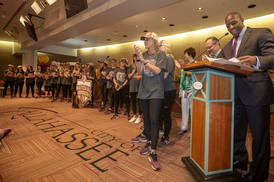 Tallahassee Mayor Andrew Gillum recognizes FSU's National Champion softball players at City Hall on June 6, 2018. (FSU Photography Services)